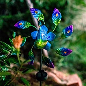 VEWOGARDEN Peacock Metal Solar Wind Spinner, Wind Sculpture Yard Art Decorations for Patio, Lawn & Garden Decor