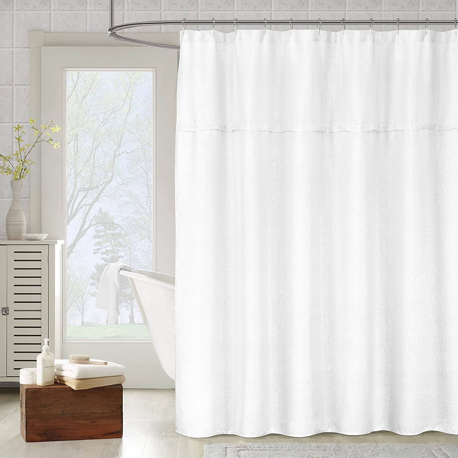 Amazon Metallic Fabric Shower Curtain Textured Sheer 70 W X 72 L White Home Kitchen