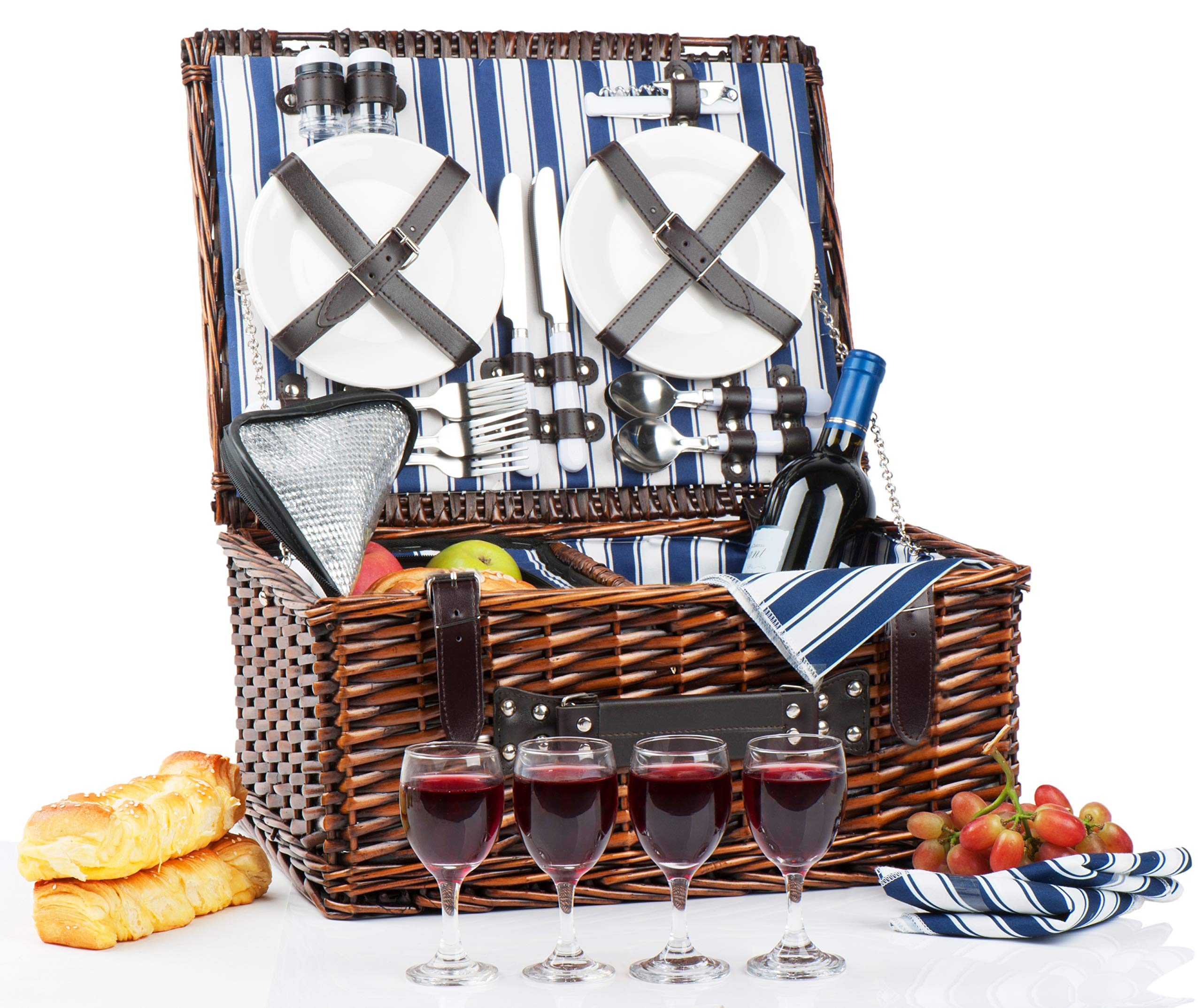 Picnic Basket Set for 4 Person   Insulated Picnic Hamper Set   Picnic Table Set   Picnic Plates   Picnic Supplies   Summer Picnic Kit   Picnic Utensils Cutlery Flatware by CALIFORNIA PICNIC