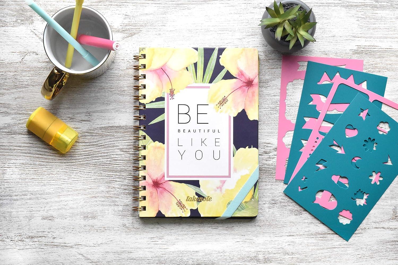 Papel Grueso Takenote A5 Cuaderno de Tapa Dura Pack de Plantillas Incluido Cuaderno Punteados con Wire-o Do it