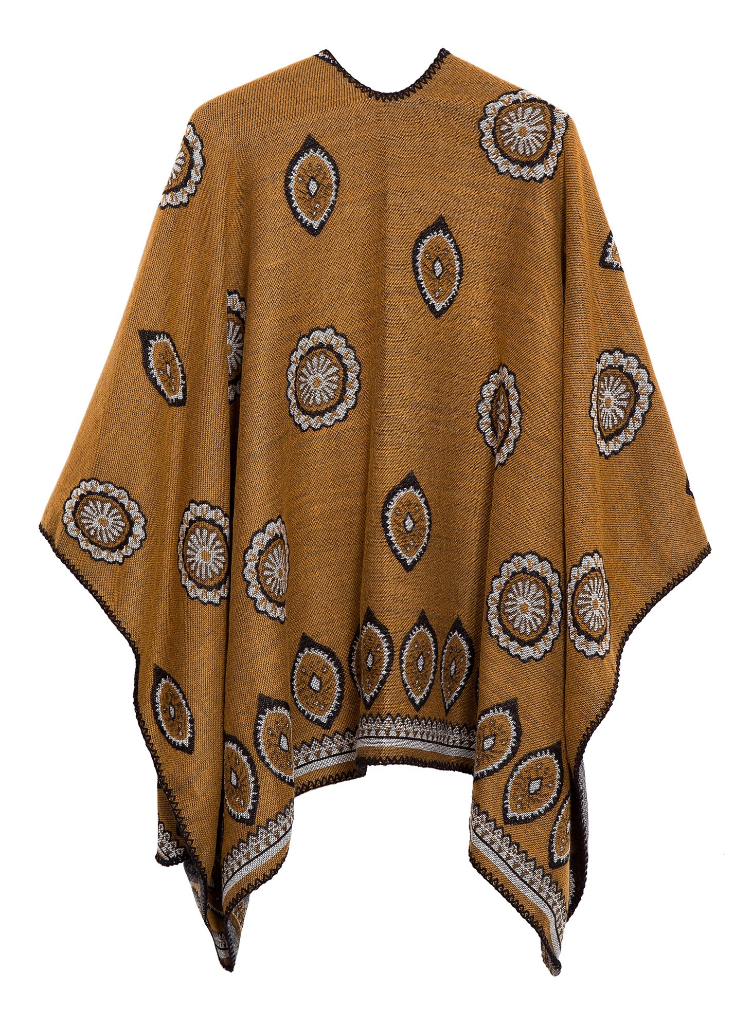 Women's Vintage Pattern Open Front Poncho Cape Shawl (Series 3-Yellow) by Urban CoCo (Image #2)