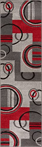 Galaxy Waves Grey Red Geometric Circles Ruby 20″ X 7' Runner Well Woven Plush Area Rug 60010