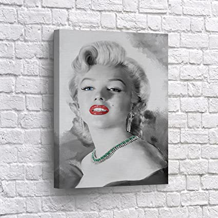 BUY4WALL Marilyn Monroe Wall Art Canvas Print Red Lips In Black And White Digital Paint Decorative