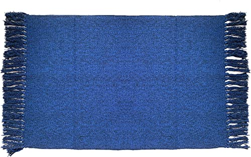 Ukeler Navy Blue Area Rugs with Tassels 3 x5 , Modern Machine Washable Doormat Hand Woven Cotton Rug for Laundry Room Living Room Bedroom Kids Room