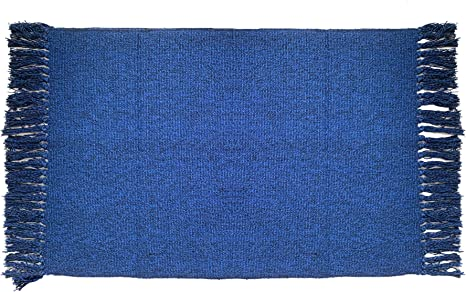 Ukeler Navy Blue Area Rugs With Tassels 3 X5 Modern Machine Washable Doormat Hand Woven Cotton Rug For Laundry Room Living Room Bedroom Kids Room Home Kitchen