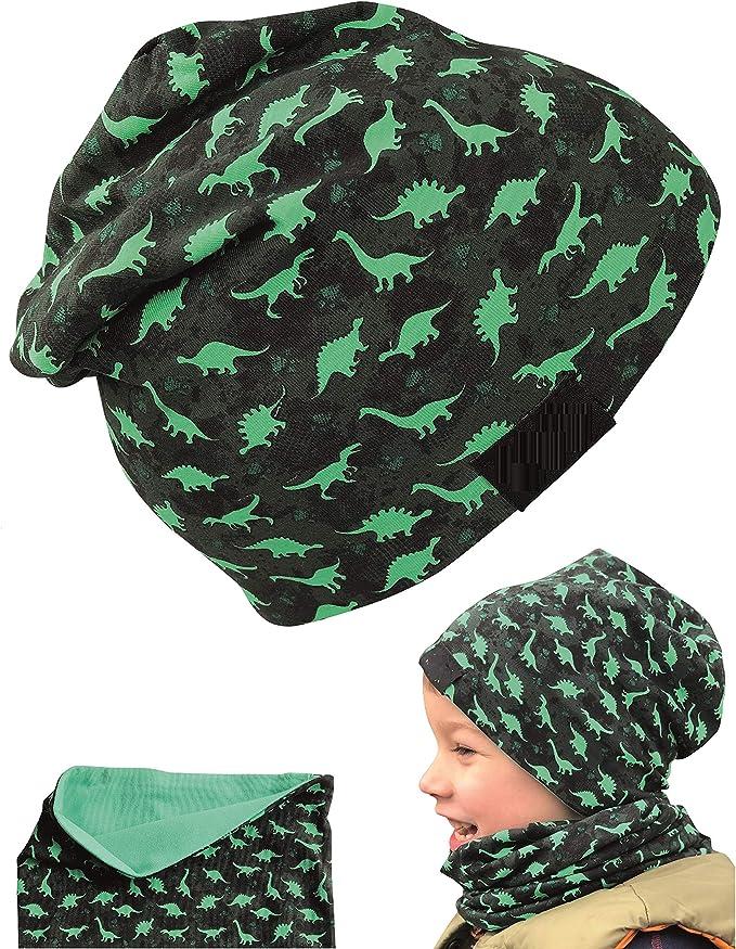 HECKBO Juego de gorro y buff niños   adecuado para primavera, verano, otoño   gorro reversible con dinosaurios   2 a 7 años   95% algodón   material elástico suave y fácil de cuidar.: Amazon.es: Ropa y accesorios