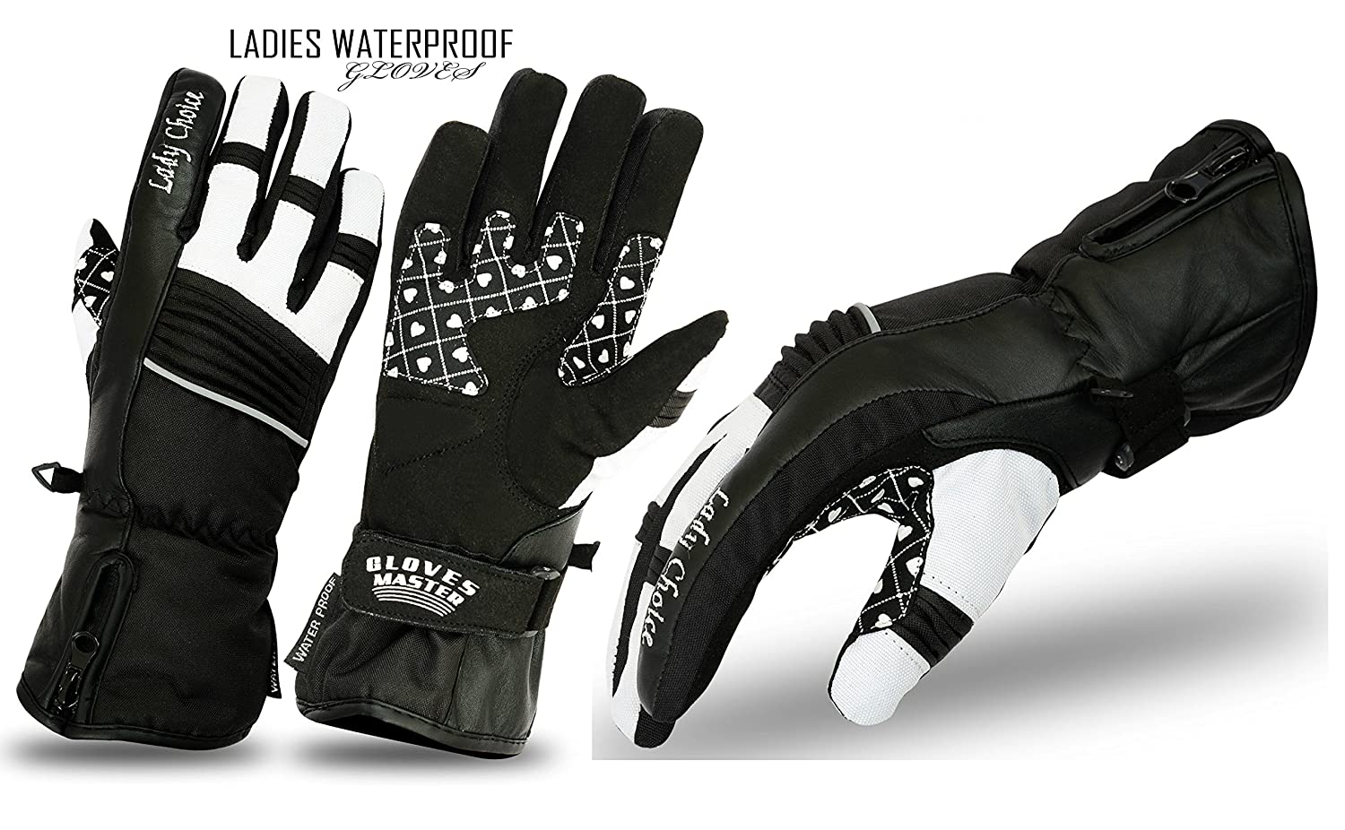 f526c26520aa4 Ladies Winter Motorbike Gloves Winter Leather Thermal Windproof Motorcycle  Protection (Black White