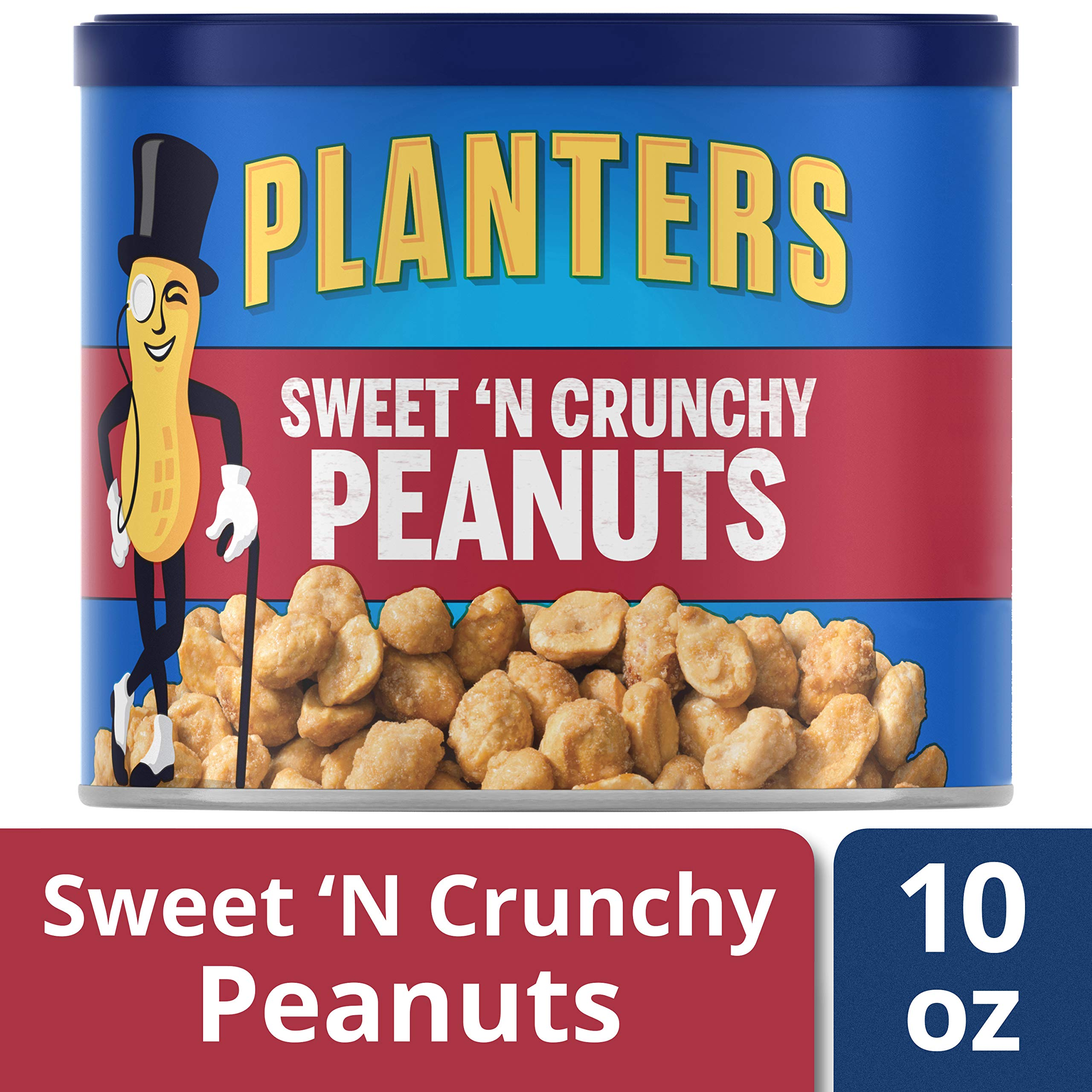 Planters Sweet N' Crunchy Peanuts, 10 oz Canister , Pack of 6 by Planters