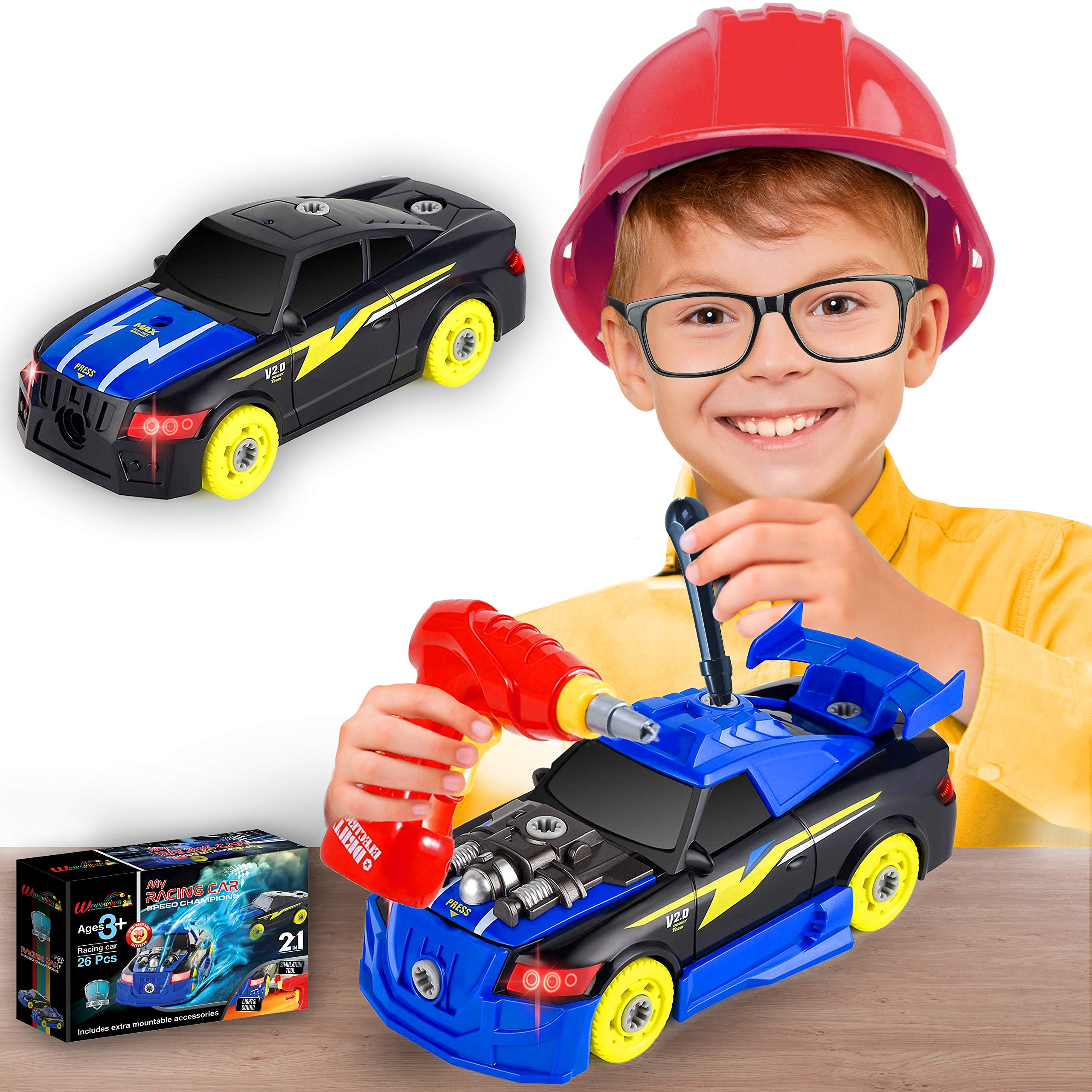 STEM Racing Car Assemble Car Construction Vehicle Take Apart Toy Limei Electric Drill Tool with Realistic Sounds and Lights for Kids Age 3 4 5 6 7 8 9 Years Old Supply by Noble Toys Brand 32Pcs