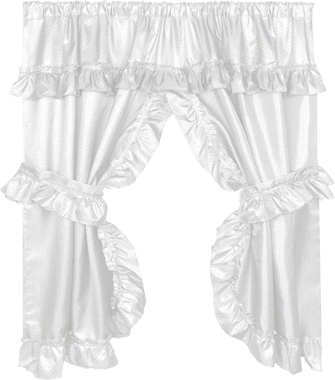 "Linen /""Lauren/"" Window Curtain with Ruffled Valance"