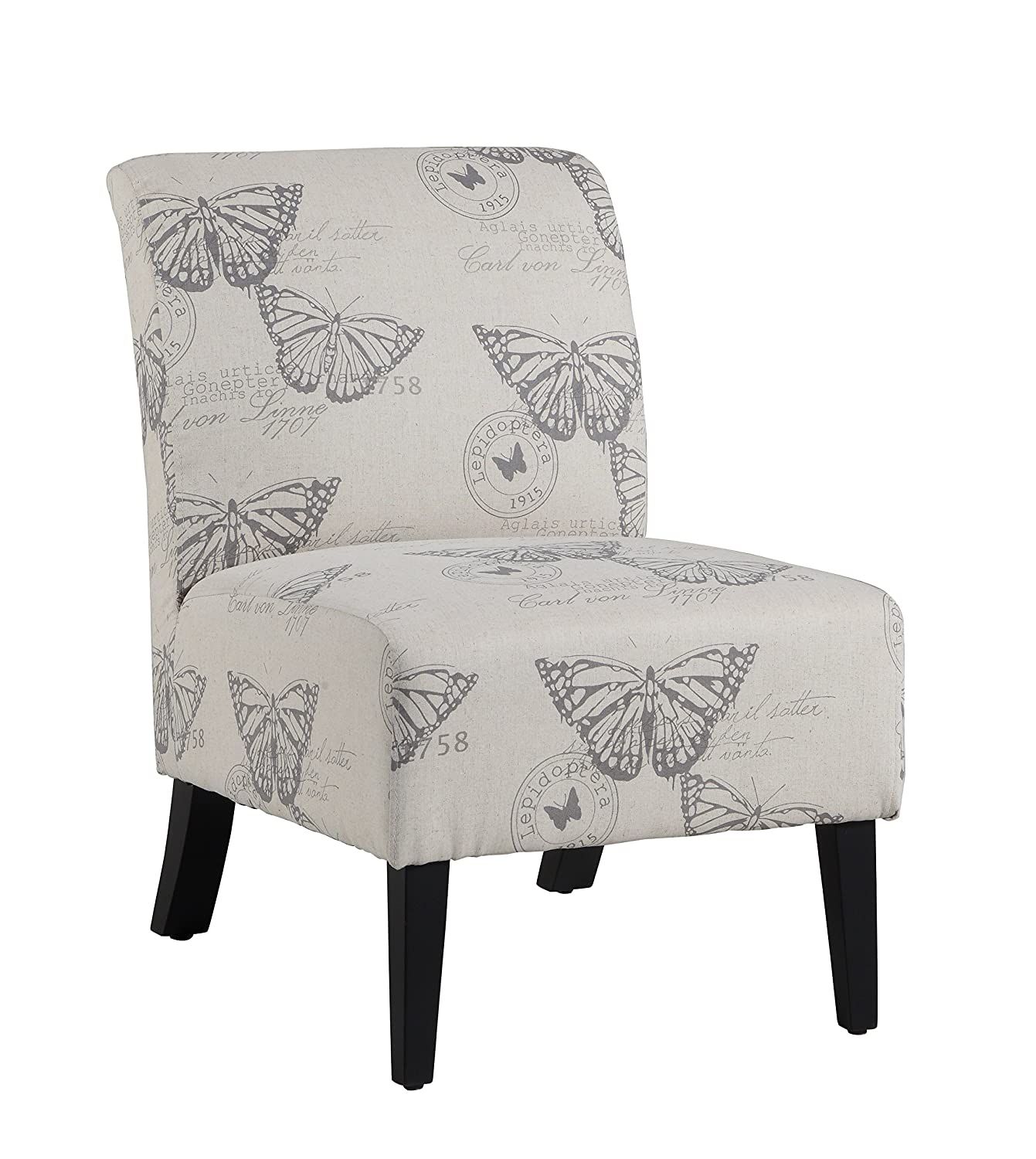 Amazon.com: Linon 98320BUTT01U Linen Lily Chair, Butterfly: Kitchen U0026 Dining