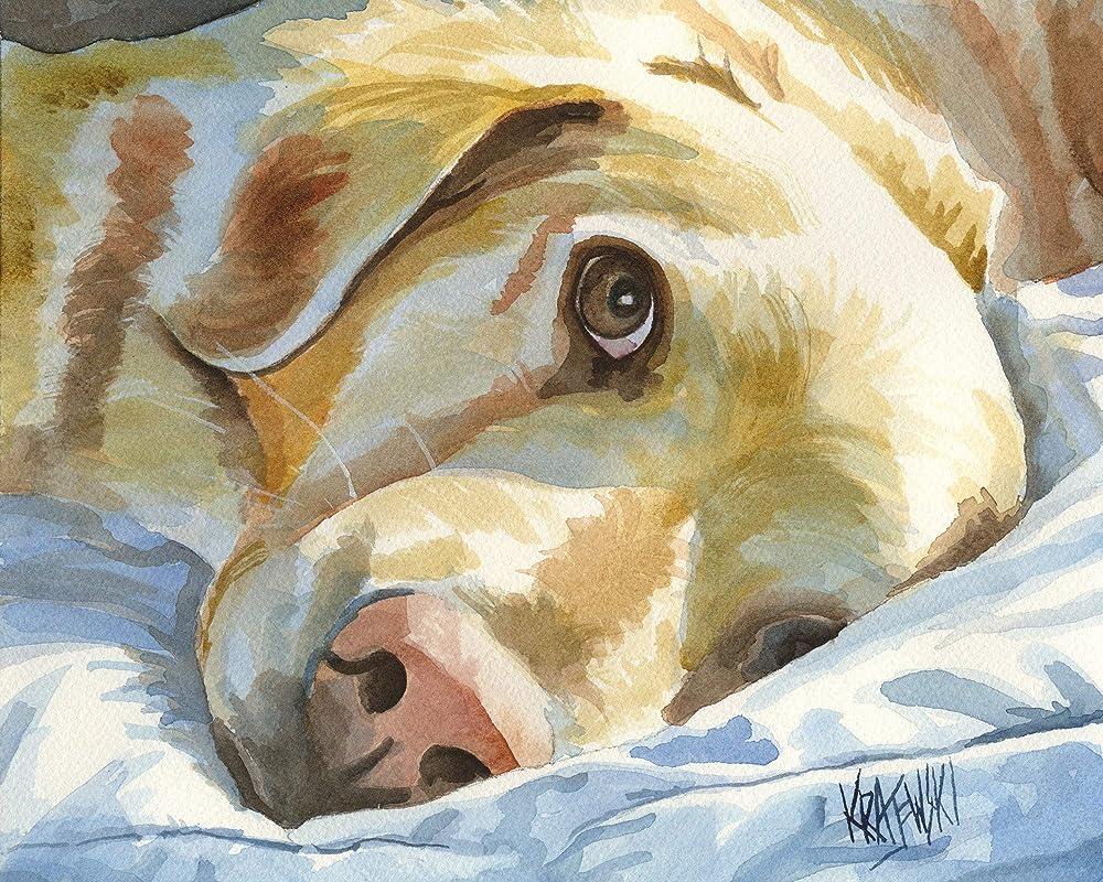 Golden Retriever Art Print Signed by Artist Ron Krajewski 8x10