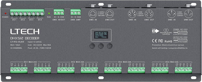 LTech LT-932-OLED 32 Channel CV DMX RDM Digital PWM Decoder 8//16 bit dimming for RGB /& RGBW LED Lighting 12-24V DC Driver Controller 32x3A Dimmer OLED Display