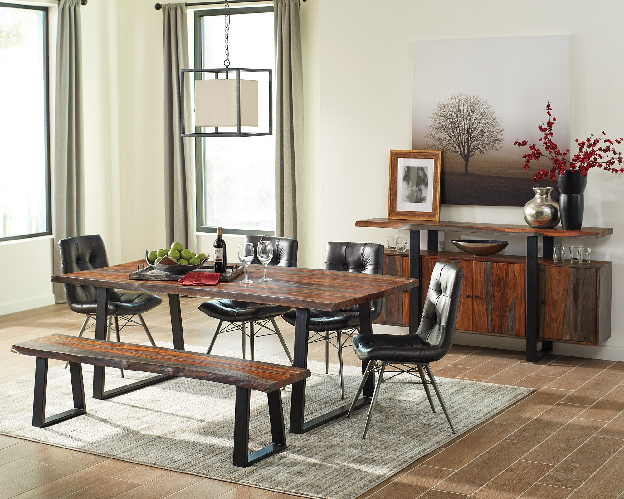 Jamestown Live Edge Dining Bench Grey and Black by Scott Living (Image #3)