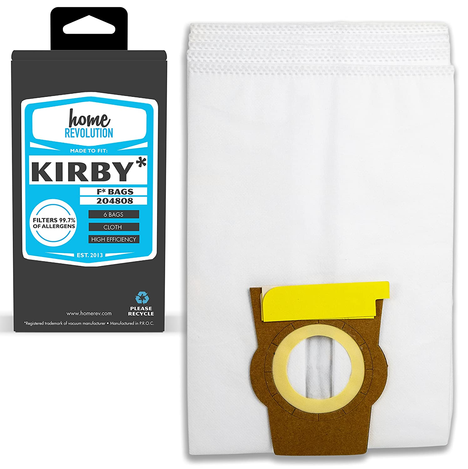 Home Revolution Replacement Vacuum Bags, Fits KIRBY and Parts 204808,  204808GW, & 205808