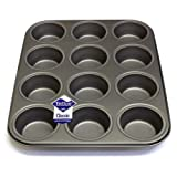 12 Hole Deep Muffin Pan / Tin Baking Tray with Teflon ®™ Non Stick by Lets Cook Cookware ®™