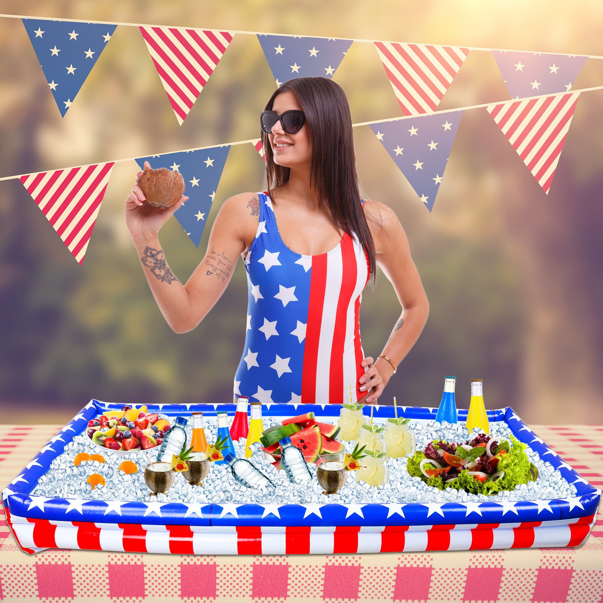 Outdoor Inflatable Buffet Cooler Server - Patriotic Red White and Blue Blow Up Cooling Tub for Serving Buffet Style Picnic - Pack of 2 by Big Mo's Toys (Image #4)