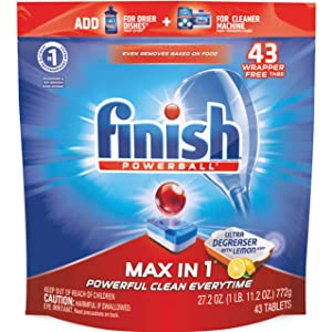 Finish Max in 1 Powerball, 43ct, Ultra-Degreaser w. Lemon Dishwasher Detergent Tablets
