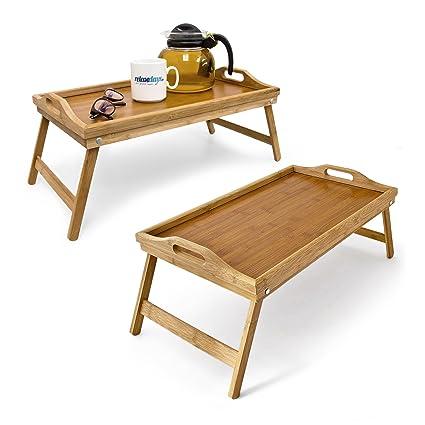 2 x cama Bandeja bambú, bandeja de desayuno con patas plegables, bandeja para servir