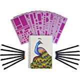 Bullet Journal Kit Starter Set - A5 Dotted Spiral Notebook - 12 Fineliner Pens - 12 Stencils - Best for Bullet Journaling - Bujo Journal Planner Set - by Hieno Supplies