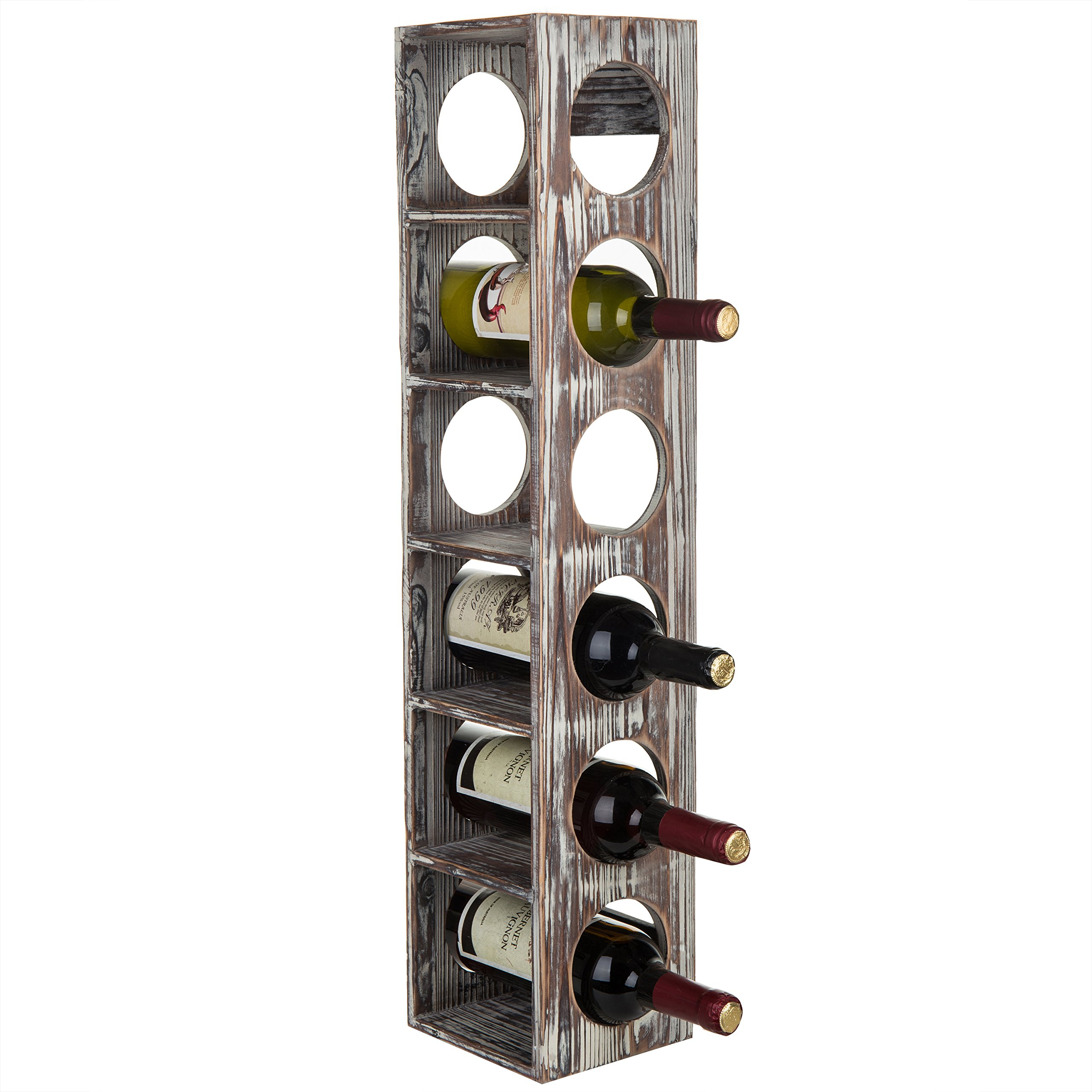 MyGift 6-Bottle Rustic Torched Wood Wall-Mounted Wine Rack