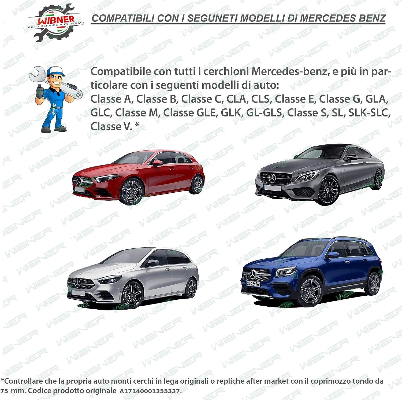 75 mm Diametro Logo Cromato * Set di 4 Tappi Coprimozzo per Mercedes-Benz Grigio e Blu con Corona dalloro da Wibner Customs Parts