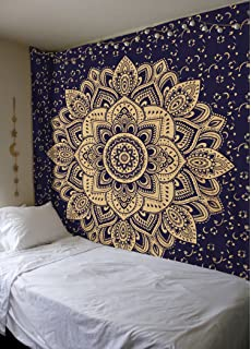 New Launched Blue Gold Passion Ombre Mandala Tapestry By Madhu  International, Boho Mandala Tapestry,