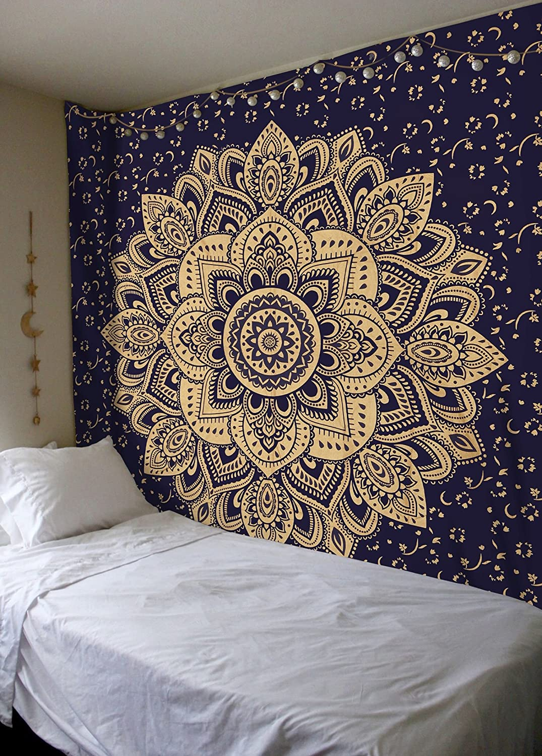 New Launched Blue Gold Pion Ombre Mandala Tapestry By Madhu International Boho Mandala Tapestry Wall Hanging Gypsy Tapestry Multicolor 85 X 89 Inches