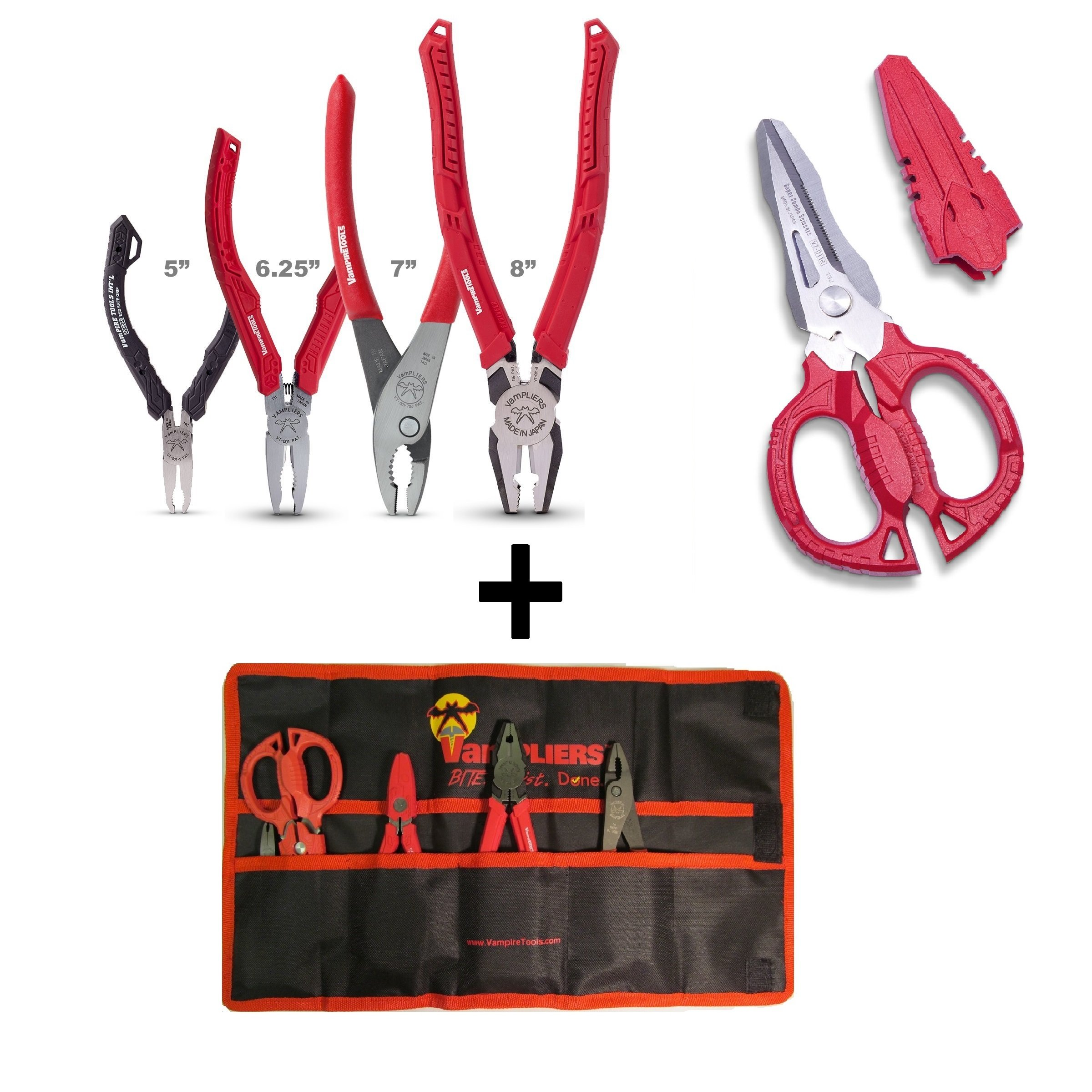 VamPLIERS 5-pc Set S5AP High Quality Specialty Pliers Extract Stripped Stuck Screws Rounded Nuts Bolts + SuperCombo Scissors Multipurpose Scissor + Tool Pouch