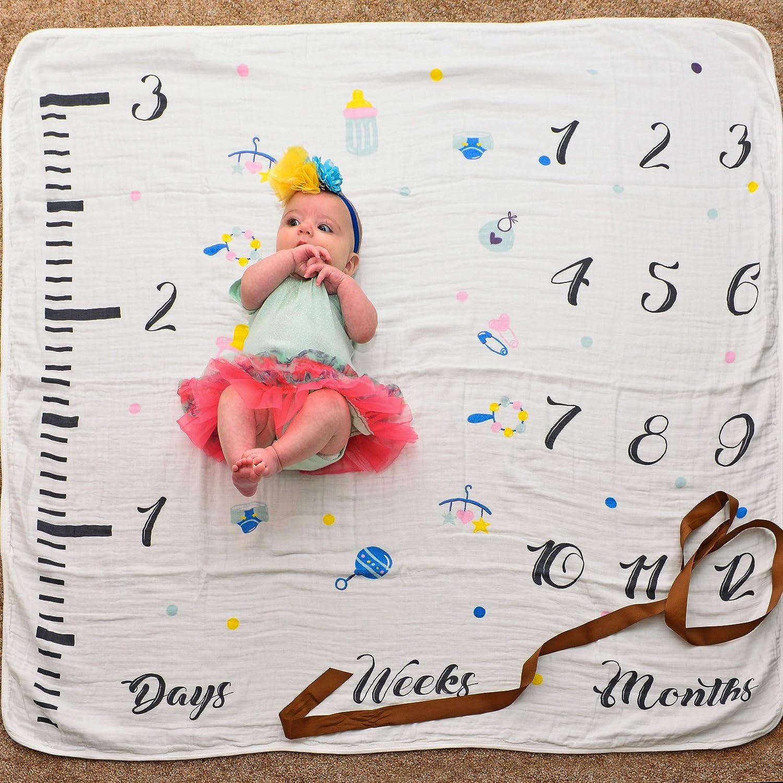 4f78454f0ff5 Amazon.com  Babboo Baby Monthly Milestone Blanket for Boys   Girls ...