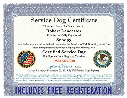 Amazon Com Official Certified Service Dog Certificate With Leather Presentation Folder Fully Customized With Handler Dog Information Includes Free Registration At U S Service Dogs Registry Handmade