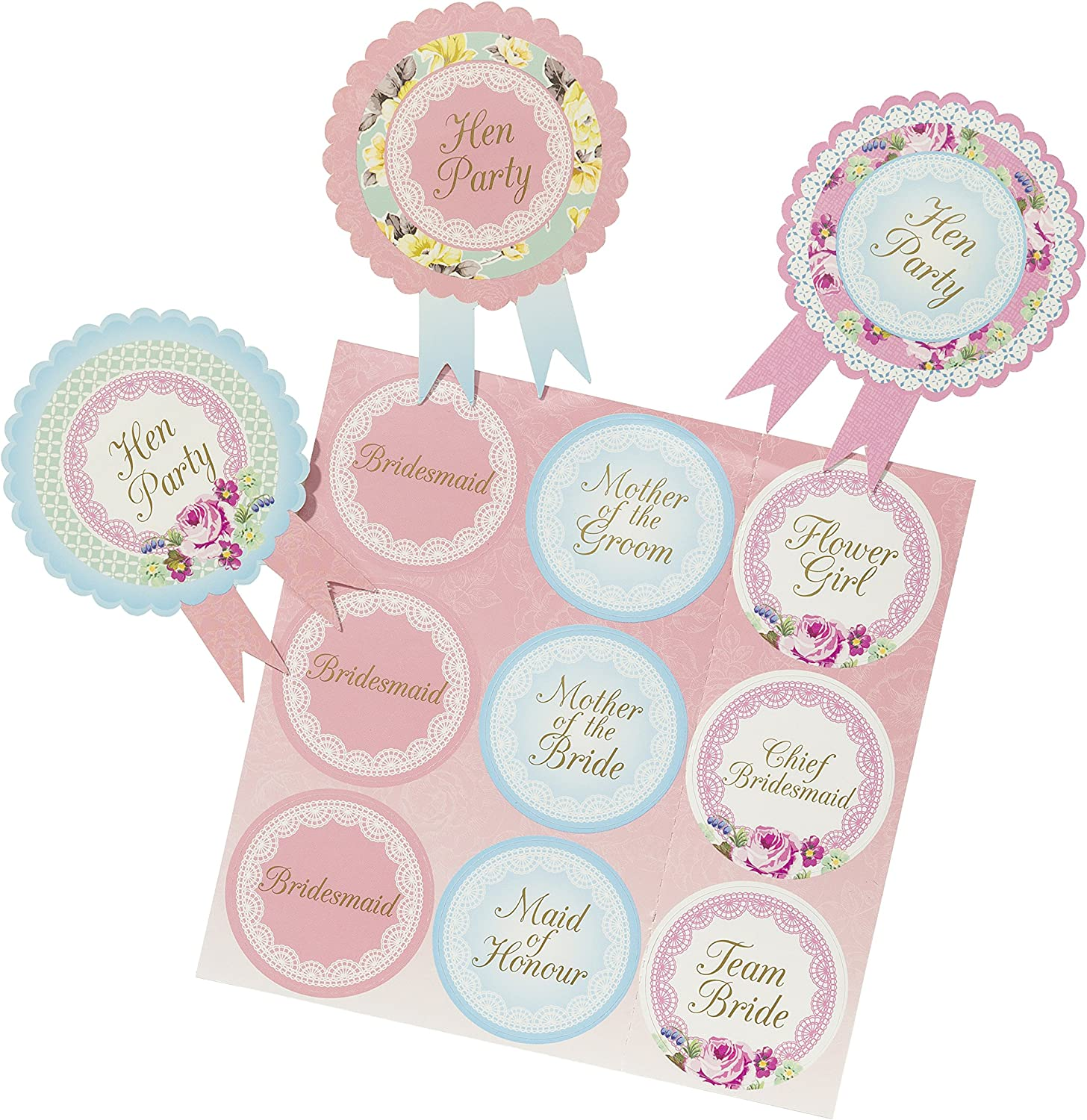 Classy Hen Night//Party BADGES Shabby Chic//Vintage Style Floral Guest Rosettes