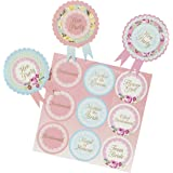 Talking Tables Truly Hen Rosette Badge for Hen Party and Bridal Showers, Multicolour (6 Pack)