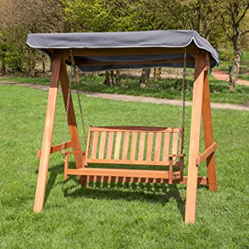 Alfresia 2 Seater Wooden Swing Seat With Grey Canopy Amazon Co Uk