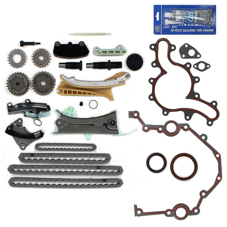 NEW TK4090SKSI Timing Chain Kit, Cover Gasket Set, Front Oil Seal, & RTV Gasket Maker for Ford / Mazda / Mercury 4.0L (4015cc) 245cid SOHC V6 (12-Valve) Engine, Vin Code 'E' 'K' 'N' 1997-11 Vin Code E K N 1997-11 CNS EngineParts