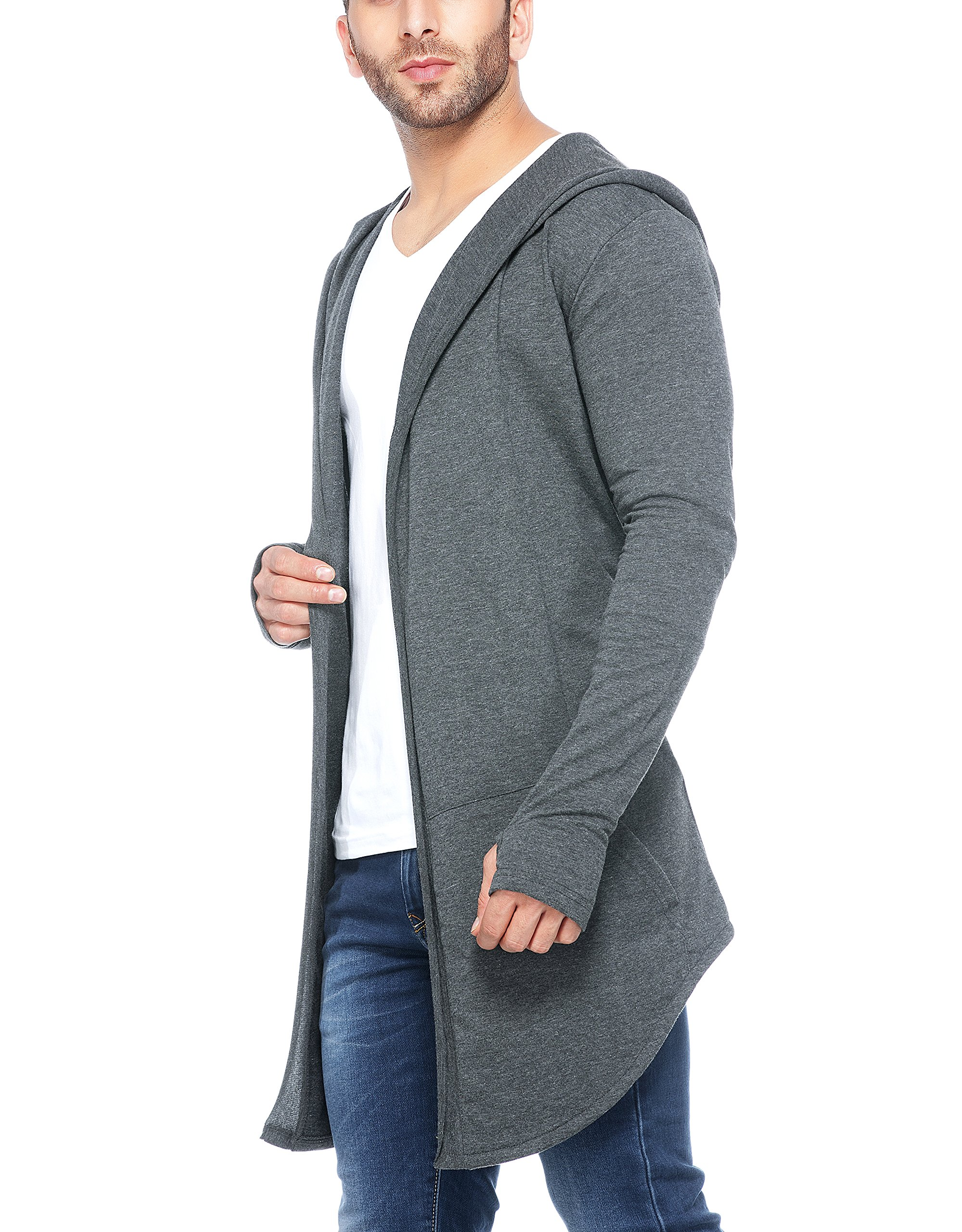 Tinted Men's Cotton Blend Hooded Long Line Cardigan with Thumb Insert