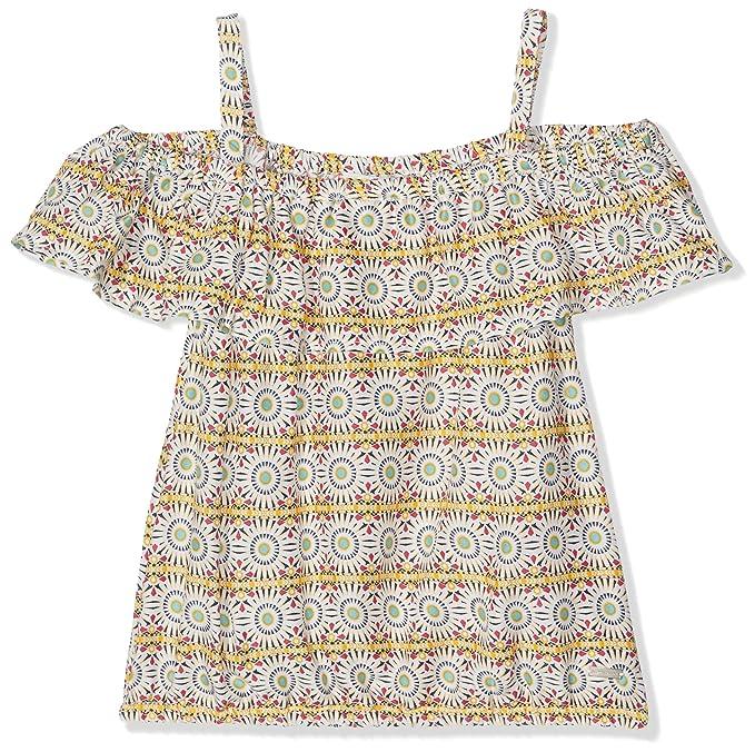 TOM TAILOR Kids Carmen Allover Printed Blouse, Blusa para Niñas, Multicolor (Soft Amber