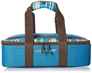 "Rachael Ray Lasagna Lugger, Insulated Casserole Carrier for Potluck Parties, Picnics, Tailgates - Fits 9""x13"" Baking Dish, Marine Blue Stripes"