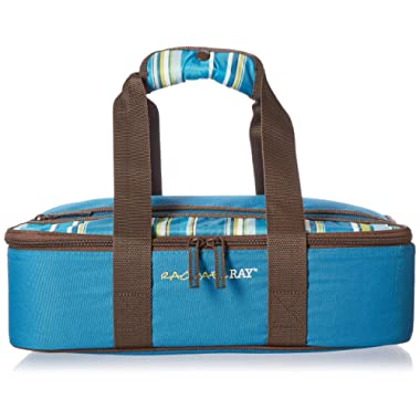 Rachael Ray Lasagna Lugger, Insulated Casserole Carrier for Potluck Parties, Picnics, Tailgates - Fits 9 x13  Baking Dish, Marine Blue Stripes