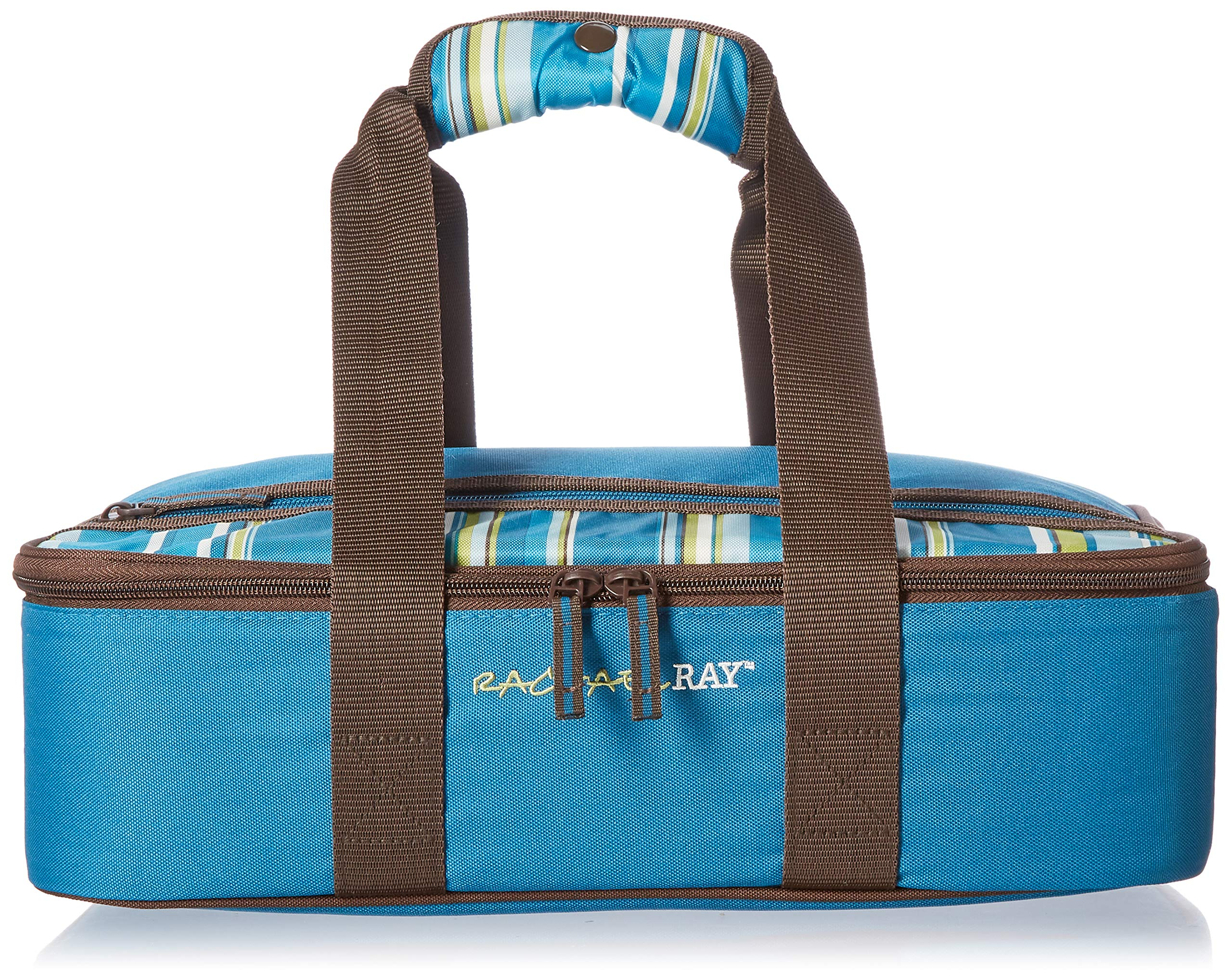 Rachael Ray Lasagna Lugger, Insulated Casserole Carrier for Potluck Parties, Picnics, Tailgates - Fits 9''x13'' Baking Dish, Marine Blue Stripes