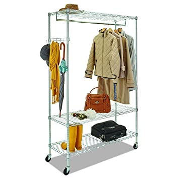 Amazon.com: Alera GR364818SR Wire Shelving Garment Rack, Coat Rack ...