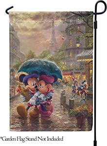"Flagology.com, Disney, Thomas Kinkade, Mickey Mouse & Minnie Mouse, Mickey and Minnie Paris – Garden Flag – 12.5"" x 18"", Outdoor, Exclusive Premium Fabric, Officially Licensed Disney"