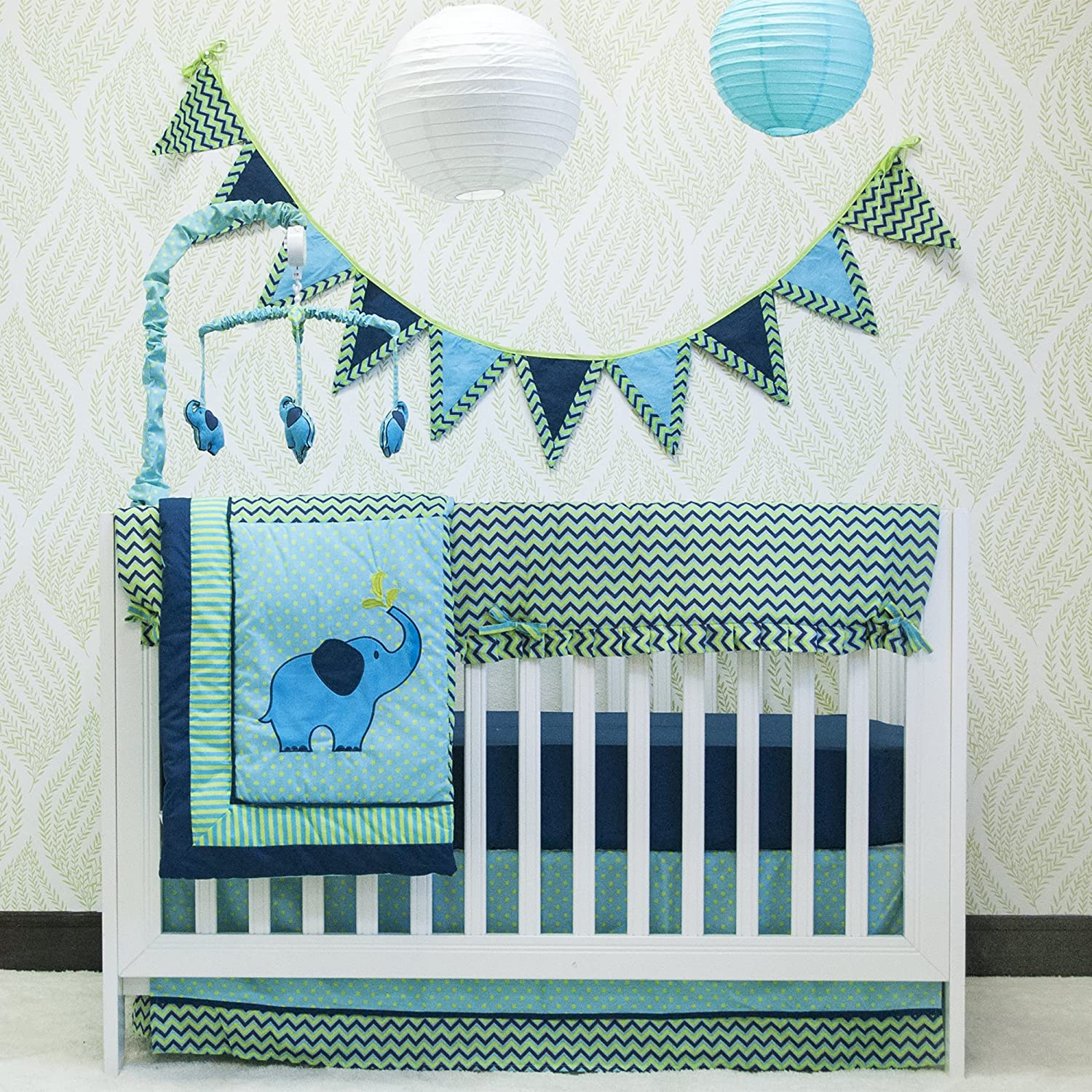 Pam Grace Creations Zigzag 10 Piece Baby Crib Bedding Set, Teal/Lime BDNB-ZIGZAG