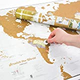Scratch the World® - scratch off places you travel map print - cartographic detail - 84.1 cm (w) x 59.4 (h) cm - with gift tube