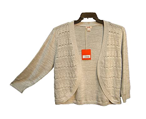7aaa495e43 Mossimo Supply Co Gray 100% Cotton Open Front Weave Crochet Cardigan ...