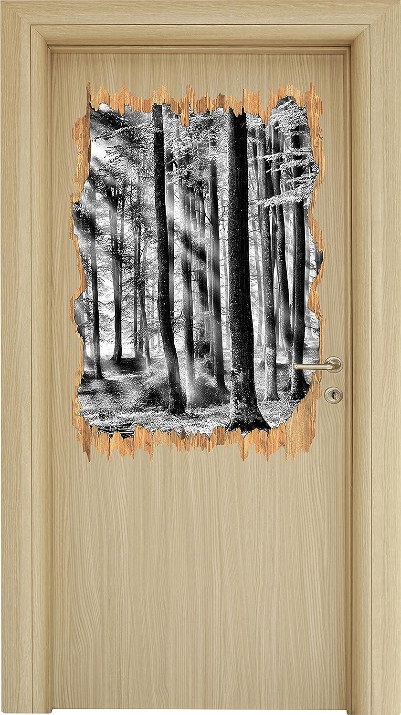 Mural Arbres Apparence 3d En Monocrome Sticker Bois Percée Clair n0XN8wOPkZ