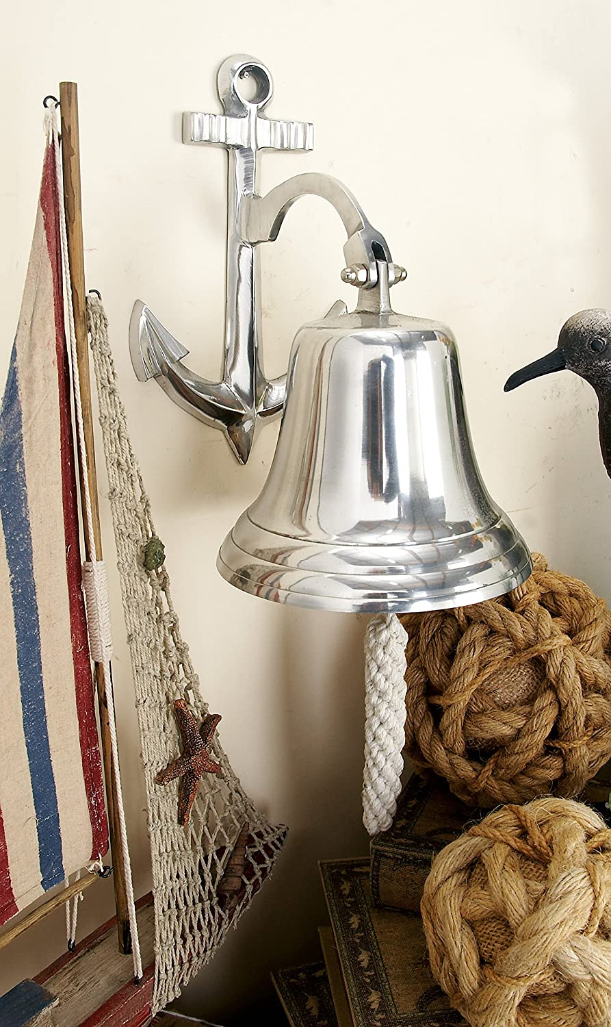 Deco 79 28301 Aluminum Wall Bell with Long Braided Lanyard