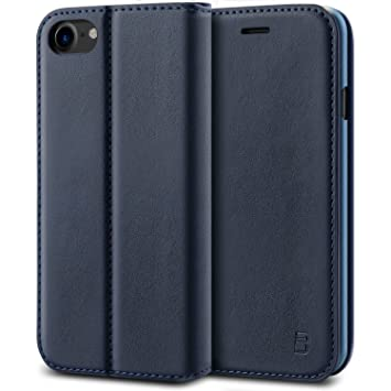 best loved 80872 38498 iPhone 7 Case, BEZ® Protective PU Leather Wallet Flip Case Cover for iPhone  7 with Card Holders, Kick Stand, Magnetic Closure - Blue Navy