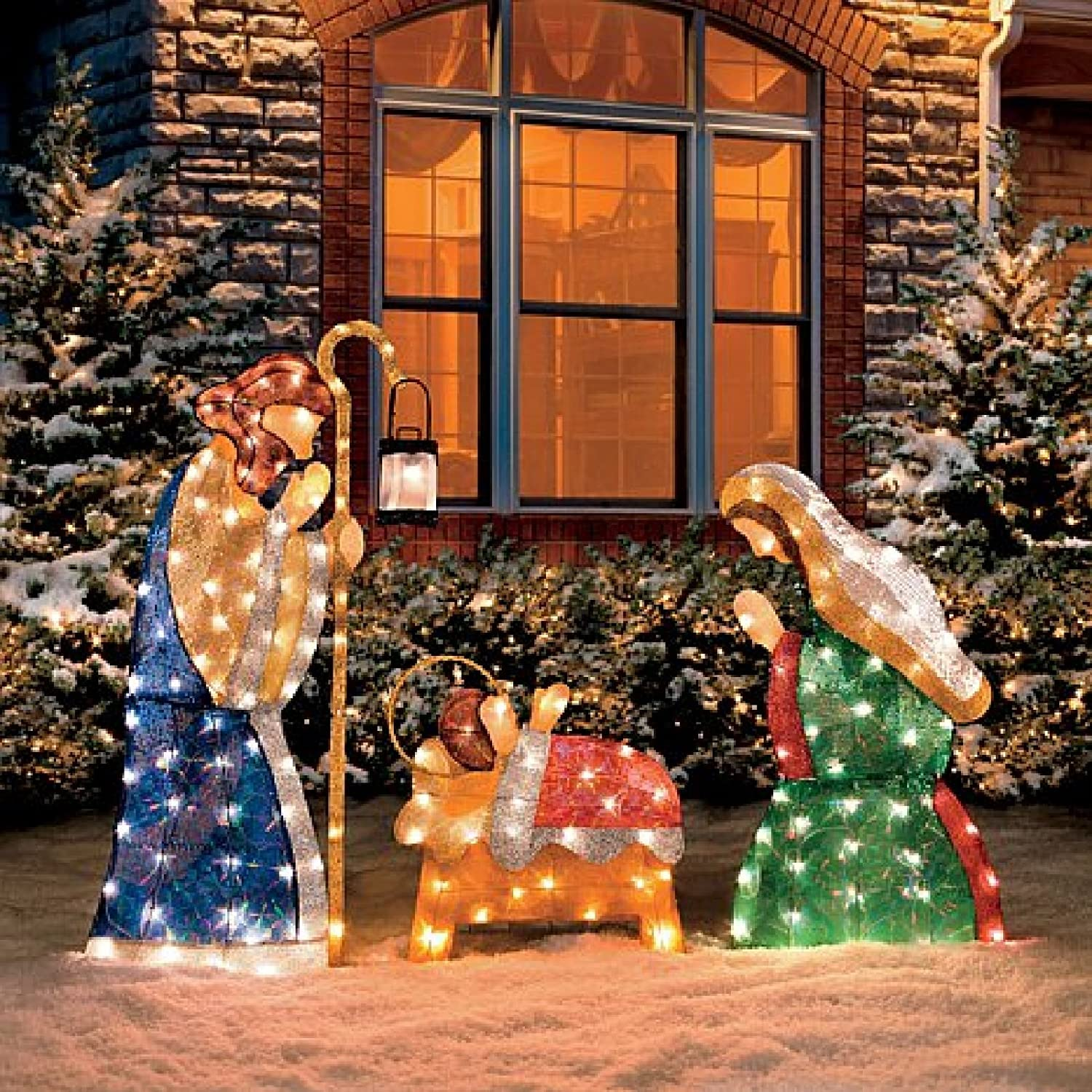 set of 3 shimmering holy family nativity outdoor pre