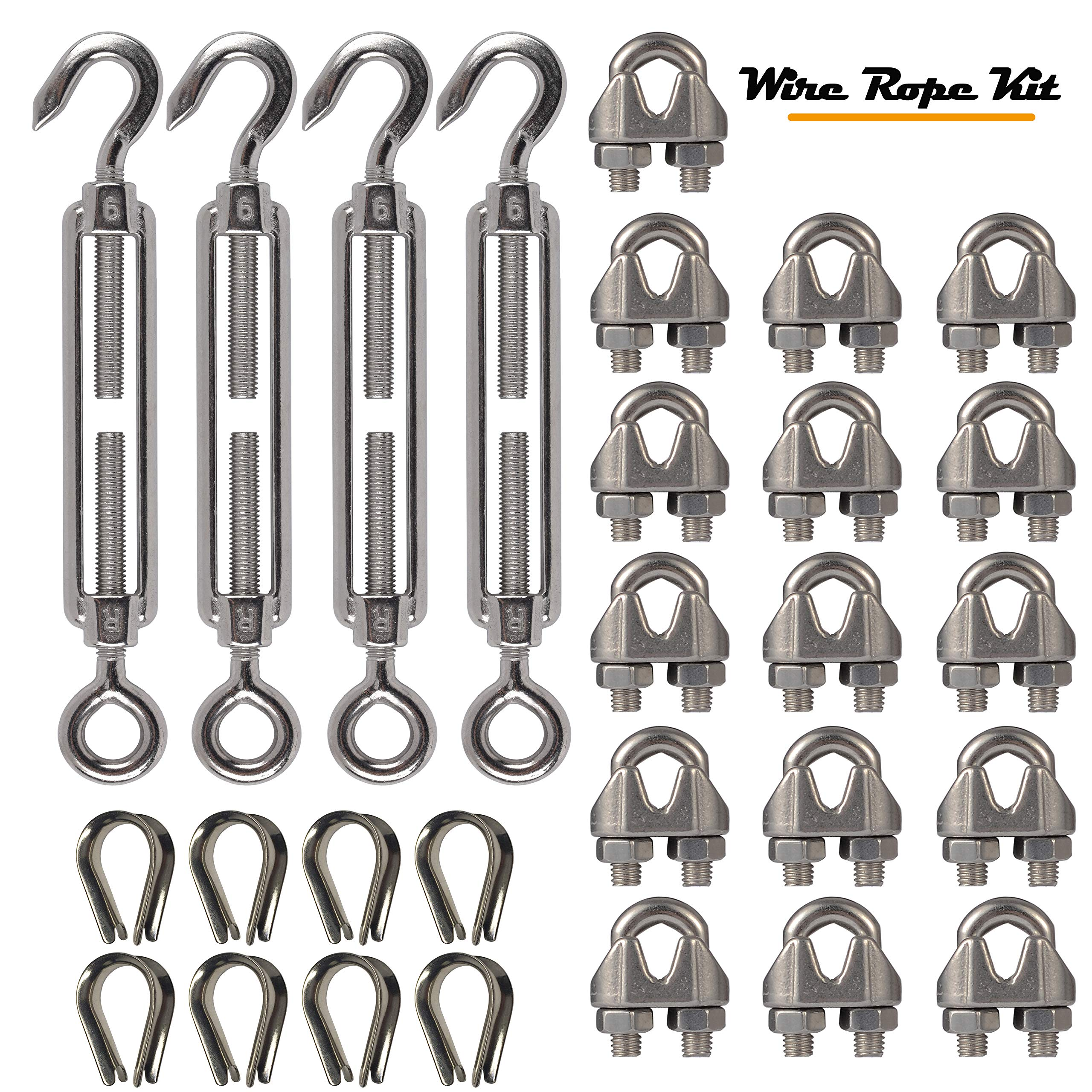 4-Pcs Turnbuckle/Tension(Eye&Hook, M6), 16-Pcs 1/8 Inch Wire Rope Cable Clip/Clamp(M3), 8-Pcs Thimble(M3), Stainless Steel Kit by Kjxxkj